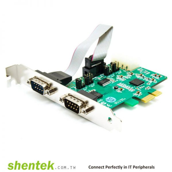 PCIe ESD 2 port RS232 Serial Card Powered I/O 5V/12V Standard Low Profile Bracket Manufactory in Taiwan