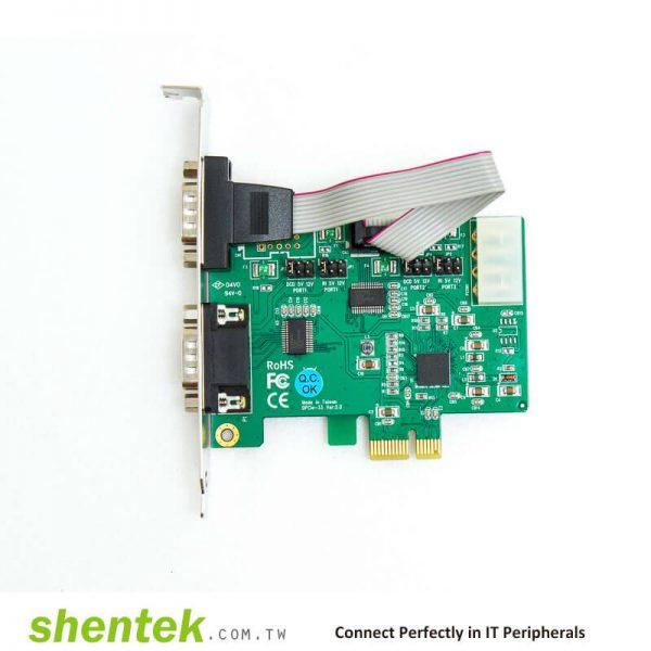 PCIe ESD 2 port RS232 Serial Card Powered I/O 5V/12V Standard Low Profile Bracket Manufactory in Taiwan shentek 52001