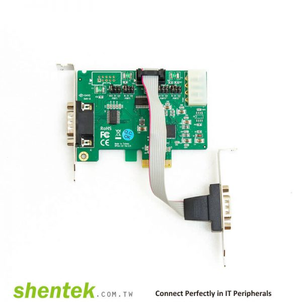 52001 PCIe ESD 2 port RS232 Serial Card Powered I/O 5V/12V Standard Low Profile Bracket Manufactory in Taiwan
