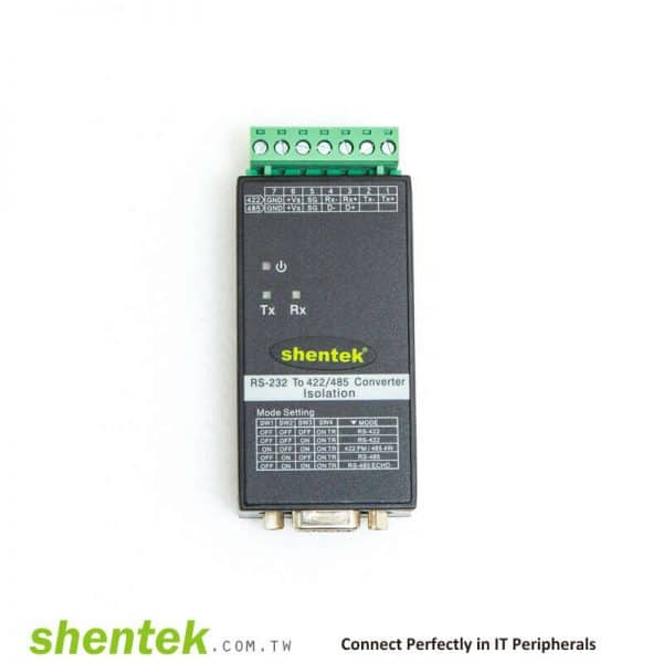 Industrial High Speed Bi-Directional RS-232 to RS-422/485 3KV Optical Isolation, 600W Surge Converter. With DIN Rail Kit