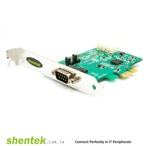 1 port High Speed Serial RS-232 PCI Express(PCIe) card support Pin1 – 5V12V/DCD, Pin9 - 5V/12V/RI Selectable and Standard and Low Profile Bracket