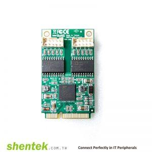 2 port Serial RS-232 Mini PCI Express(Mini PCIe) card + 2.5KV Isolation Protection