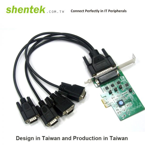 4 port High Speed Serial RS-232/422/485 PCI Express(PCIe) Card supports Standard and Low Profile Bracket, with 600W Surge Protection