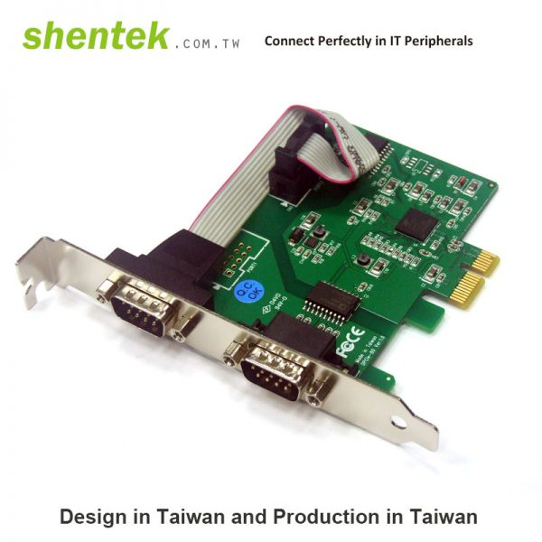 2 port Serial RS-232 PCI Express(PCIe) card + 2.5KV Isolation Protection