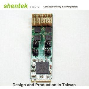 4 port High Speed Serial RS-232/422/485 M.2(NGFF, M Key) Card - 2280