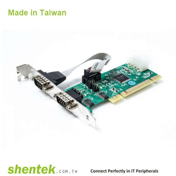 2 port High Speed Serial RS-232 Universal PCI Power I/O card support Pin1 – 5V/12V/DCD, Pin9 - 5V/12V/RI Selectable and Standard and Low Profile Bracket